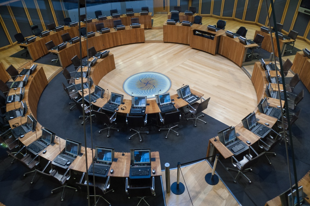 Interior of The Senedd (National Assembly building)