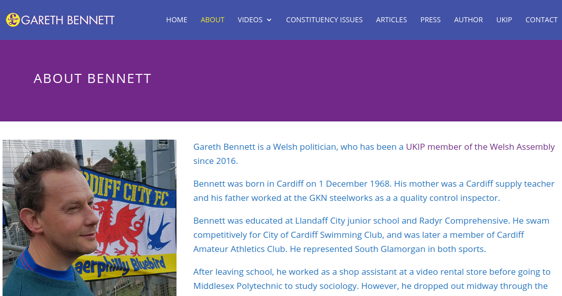 South Wales Central Assembly Member Gareth Bennett Launches New Website